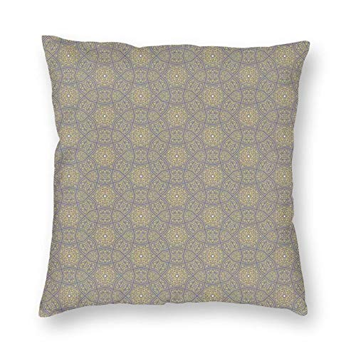 Decorative Cushion Covers with Arabesque Floral Pattern with Curly Leaf Motifs Antique Ornament,for Sofa Office Decor Cotton and Linen Cushion Covers 18*18Inch