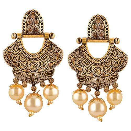 Efulgenz Boho Vintage Antique Ethnic Gypsy Tribal Indian Oxidized Gold Dangle Earrings Jewellery
