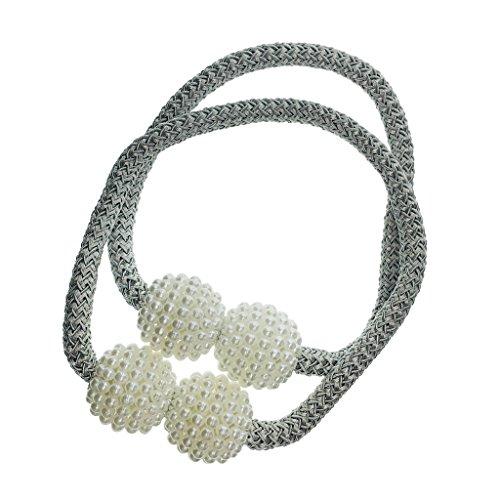Homyl 2 STK. Magnetischer Raffhalter Gardinenhalter Vorhanghalter für Vorhänge - Silber-Grau