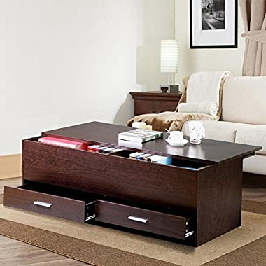 Yaheetech Living Room Slide Top Trunk Coffee Table with Storage Box & 2 Drawers Side Table Parlor Coffee, Espresso Finish