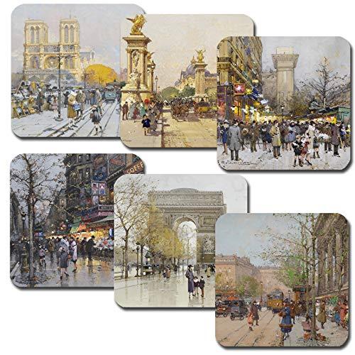 Vintage Paris Gemälde Untersetzer Set mit 6 Untersetzern für Kaffee Tee Wein Geschenk