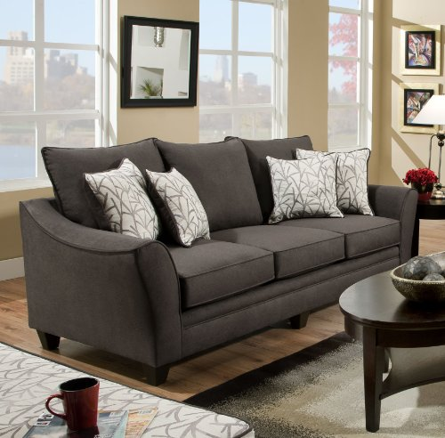 Chelsea Home Furniture Cupertino Sofa, Flannel Seal/Cosmopolitan Birch Pillows