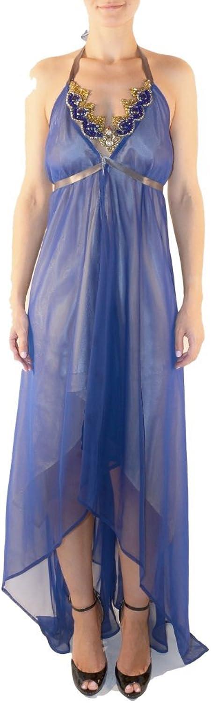 BOCKHOLT Women's Halter HiLow Designer Evening Dress S bluee