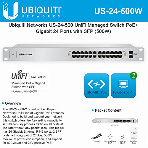 Ubiquiti UniFi Switch - 24 Ports - Manageable - 24 x POE+ - 2 x Expansion Slots - 10/100/1000Base-T, 1000Base-X - Rack-mountable - US-24-500W
