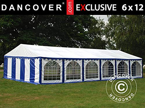 Dancover Partytent Exclusive 6x12m PVC, Blauw/Wit