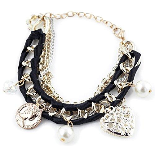 Braccialetto moderno per donna Braccialetto per ragazzina Bracciale Accessorio per i polsi con perle di colore nero Marchio MyBeautyworld24