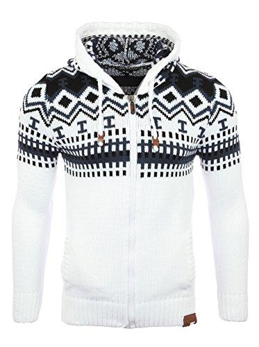 Reslad Herren Grobstrick Norweger Winter Strickjacke mit Kapuze RS-3104 Weiß XL