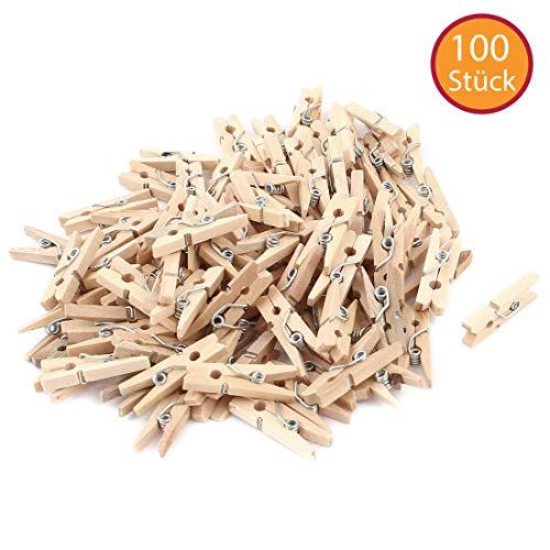 YooKreativ® Holzklammern, 100 Stück DekoKlammern, L 3 cm, B 3 mm, Kleine Wäscheklammern aus Birkenholz