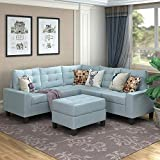 MOOSENG Sofa Sectional Set, Symmetrical Couch Linen-Like Left or Right Hand with Ottoman, 4 Pieces for 5 Seaters, Living Room Furniture, Blue