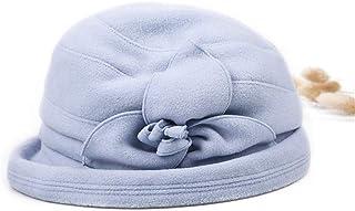 Women Elegant Wool Felt Wide Brim Ribbon Flower Winter Floppy Hats Bowler Hats Hats & Caps (Color : Light blue)
