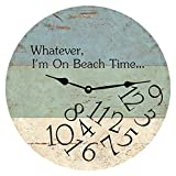 Tamengi Wall Clock, Silent Battery Operated Wall Clock Whatever I'm On Beach Time Clock-Whatever Wall Clock Easy to Read 15' Wooden Clock