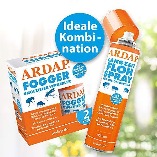 ARDAP Fogger 2 x 100ml - Effektiver Vernebler zur Ungeziefer- & Flohbekämpfung für Haushalt & Tierumgebung - für Räume bis 30m² - Wirksamer Schutz für bis zu 6 Monate - 7