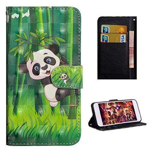 HiKing per Nokia 2.1 Custodia, con Cinturino da Polso Magnetico Snap-on Bookstyle Internamente Silicone TPU Custodie Case in Pelle Protettiva Flip Cover - Panda di bambù rampicante