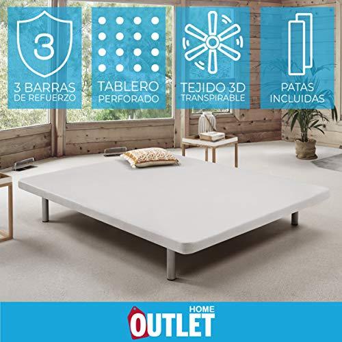 Komfortland Base tapizada 3D One Medida 135x190 cm Color Blanco (Patas 25 cm - Normales de Regalo)