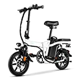FIIDO L2 Folding EBike, 350W Aluminum Electric Bicycle with Pedal for Adults and Teens, 14' Electric Bike 15Mph with 48V/20AH Lithium-Ion Battery, White