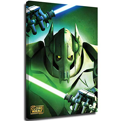 Xicplc Star wars film 3D Oil Painting General Grievous Elegant Wall Art poster Vertical Wall Art 12' x 18' Framed Art for Home Wall, Stretched and Ready to Hang