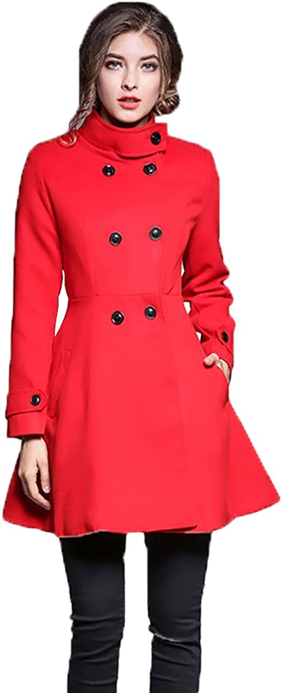 Eleter Winter Women's Slim Coat Woolen Blend Overcoat