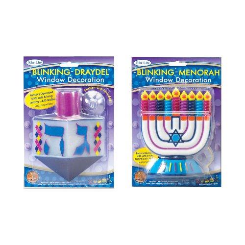 Rite-Lite Judaica Battery Operated Blinking Menora/Draydel Window Decoration- receive only 1 Menorah or Draydel