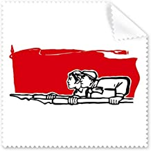 DIYthinker Red Flag Man Woman Pen Illustration Glasses Cloth Cleaning Cloth Phone Screen Cleaner 5Pcs Gift