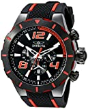 Invicta Men's S1 Rally 53mm Black Stainless Steel Chronograph Quartz Watch with Black Silicone Band, Black (Model: 20109)