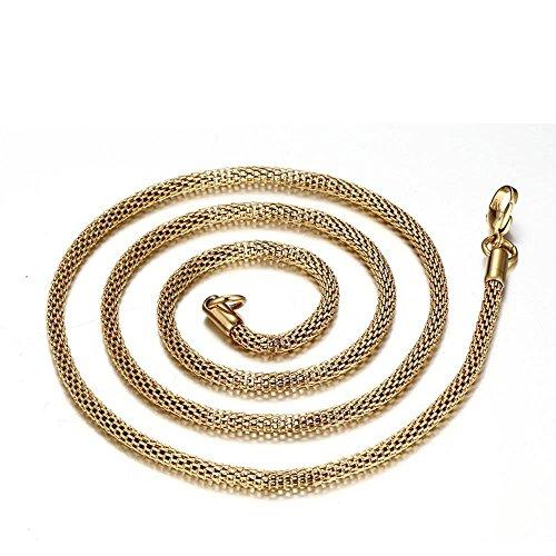 Lozse Herren Halskette Mann Anhänger 24-Zoll-net Goldkette net Kette aus rostfreiem RUNDSTAHL(mit Schmuckbox)