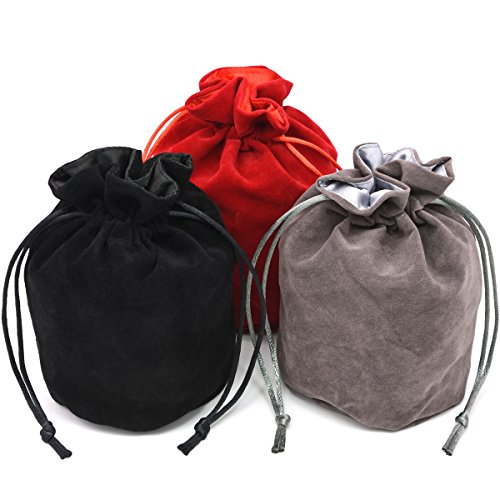 IvyFieldDice Red/Grey/Black Drawstring Dice Bag - Dungeons and Dragons Fabric/Standing Cotton Fabric Dice Bag/D&D Dice Pouch/Small Pouch/Also can be Used as a Velvet Jewelry Bag(3 Colors for One Set)