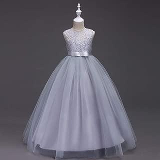 Luxury Princess Dress Girl Princess Dress Children Sleeveless Lace Dress Length Skirt Dress Butterfly Festival Evening Dress Moderator ryq (Color : Grey, Size : 130cm)
