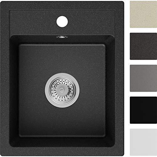 Spülbecken Graphit 40 x 50 cm, Granitspüle + Siphon Klassisch, Küchenspüle ab 40er Unterschrank in 5 Farben mit Siphon und Antibakterielle Varianten, Einbauspüle von Primagran