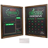 Christmas Decoration: Wooden Chalkboard Frame Photo Prop Board Sign for Kids & Holiday Countdown Christmas Decor. Erasable and Reusable 13' x 17'. White Chalk Included. Set of 2 Boards (Version 2)
