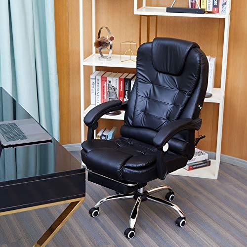 VONLUCE Silla de oficina ejecutiva, respaldo alto, silla de oficina con reposapiés y ruedas, de piel sintética, cómoda silla de masaje reclinable para el hogar y la oficina