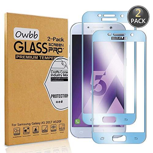 Owbb [2 Stück] Blau Gehärtetes Glas Bildschirmschutzfolie Für Samsung Galaxy A5 2017 A520F Smartphone Full Coverage Schutz High Transparent Explosionsgeschützter Film
