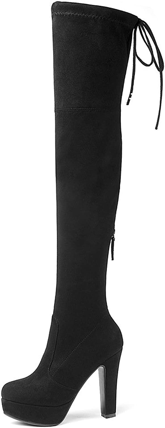 Wetkiss Thick high Heels Over Knee Boots for Women Platform Stretch Thigh high Boots shoes Lady