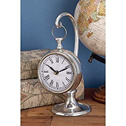 Aluminum 'Ship's Time' Suspended Table Clock Silver Modern Contemporary Novelty Chrome Finish Roman Numeral Display
