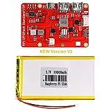 MakerHawk Paquete de baterías Raspberry Pi, Tablero HAT de UPS Raspi (Batería de Raspberry Pi) con 4 indicadores de potencia LED y batería de litio de 2600 mAh para Raspberry Pi 3B + / 2B + Módulo B