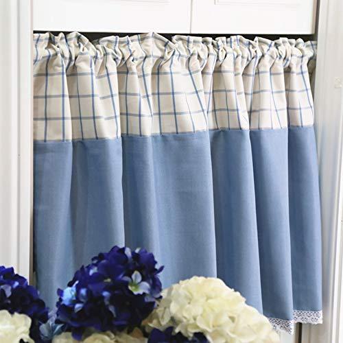 YXW Cortina Corta de Cocina de Patchwork a Cuadros Azules, Cenefa de Cortina Opaca para baño/Armario/Debajo del Fregadero, Media Cortina de café (140 × 45 cm / 140 × 60 cm)
