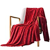 Exclusivo Mezcla Large Flannel Fleece Throw Blanket, Jacquard Weave Leaves Pattern (50' x 70', Red) - Soft, Warm, Lightweight and Decorative