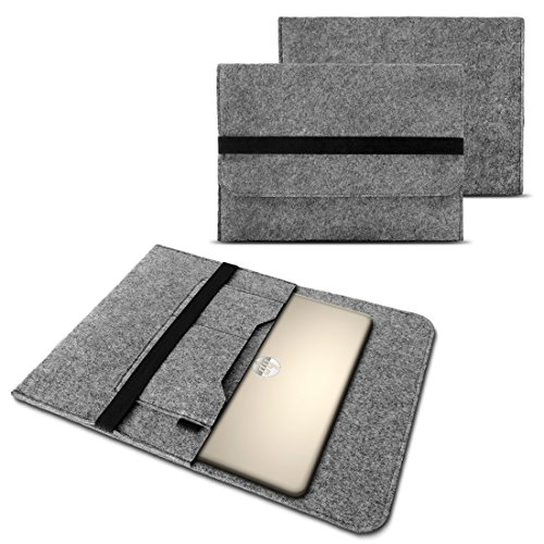NAUC Tasche Hülle für Laptop Case Ultrabook Cover Notebook 15-15.6 Zoll Filz Sleeve Schutzhülle aus strapazierfähigem Filz, Farben:Hell Grau, Notebook:Fujitsu LIFEBOOK A557
