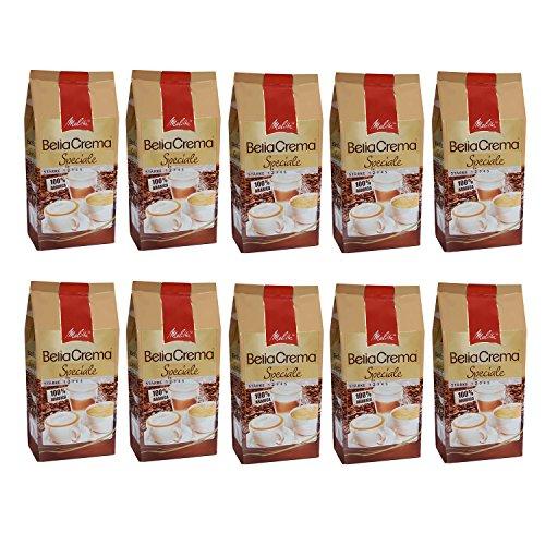 Melitta BellaCrema Speciale, 100 % Arabica, Ganze Kaffeebohnen, 1000g, 10er Pack (10 x 1kg)