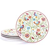 Bico Red Spring Bird Salad Plates Set of 4, Ceramic, 8.75 inch, Microwave & Dishwasher Safe