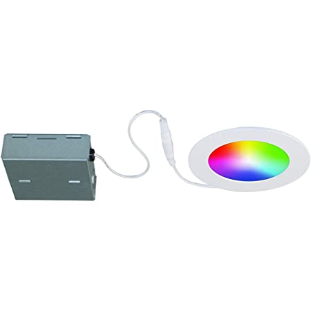 BAZZ WFDISK400W Slim Disk Colors Smart Home Wi-Fi RGB LED Recessed Fixture Kit, Tunable, Dimmable, Alexa and Google Assistant Compatible, Damp Location, 1 Pack, White