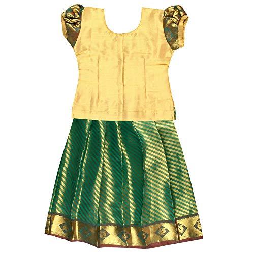 PKD Girls Polyester Ethnicwear Pattupavada (DP2S20002, Green Gold, 18-24 Months)