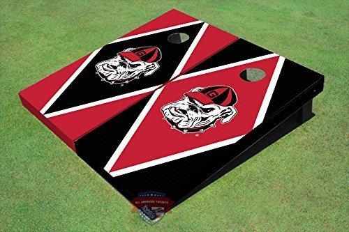All American Tailgate University of Georgia Hairy Red and Blk Alternating Diamond Cornhole Boards