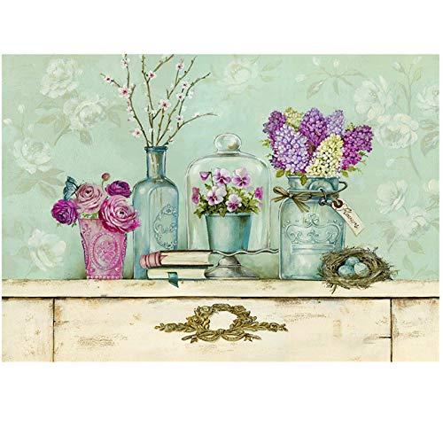Kits de pintura de diamante para adultos, botellas redondas de flores de bricolaje con diamantes de imitación para el hogar, 30 x 40 cm