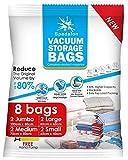 Bolsas de almacenamiento al vacío – Paquete de 8 (2 Jumbo + 2 Grande + 2 Medio + 2 Pequeño) reutilizables con bomba de mano para embalaje de viaje   las mejores bolsas de sellado para ropa, edredones