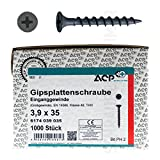 ACP Schnellbauschrauben Grobgewinde 3,9 x 35 mm - 1000 Stück, PH 2, Gipsplattenschraube Einganggewinde, phosphatiert