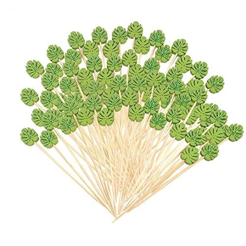 NIDONE Cocktail sticks Houten voorgerecht halen wegwerp groen blad tandenstoker voor feestbalk 100 stks