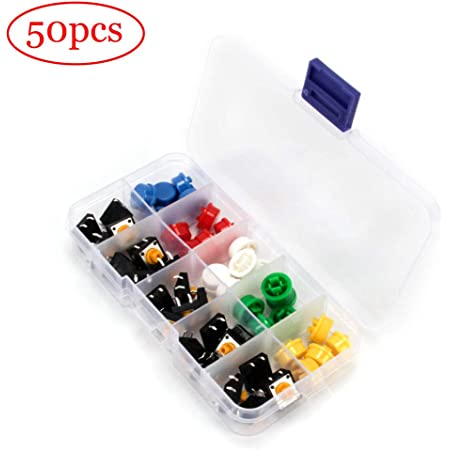Gebildet 105 Pieces 6 X 6 X 8 Mm Momentary Tactile Tact Push Button Switch Push Button With Button Caps Of 7 Colours For Arduino Each Colour 15 Pieces Baumarkt