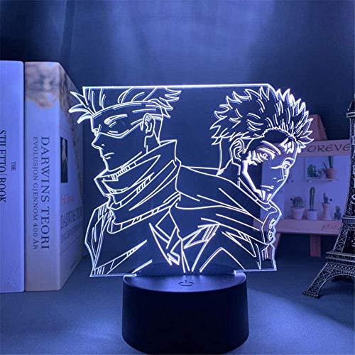 3D noche luz para niños Satoru Gojo 3D noche luz lámpara de noche con control remoto 16 color cambiante regalo de cumpleaños para el niño