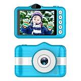 Kinderkamera, Mini Digitalkamera Dual Camera 3,5 Zoll Bildschirm 8 Megapixel Wiederaufladbare HD Kinder Digital Kamera 32GB TF-Karte Neujahr Spielzeug Geschenk für Kinder Alter 3-10 (Blau)