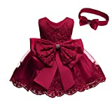 Baby Girl Christmas Easter Dress Infant Toddler Birthday Pageant Party Lace Formal Prom Dresses(Burgundy,6M)